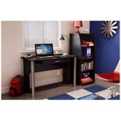City Life 1-Drawer Pure Black Desk