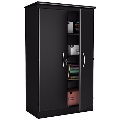Morgan 2-Door Locking Pure Black Storage Cabinet