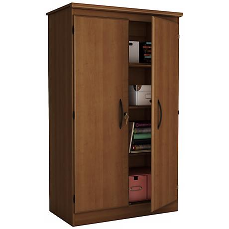 Morgan 2-Door Locking Morgan Cherry Storage Cabinet