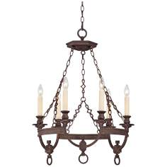"Bastille Bronze 6-Light 24"" Wide Bronze Chandelier"