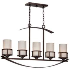 "Kyle 5-Light 40"" Wide Etched Glass Island Chandelier"
