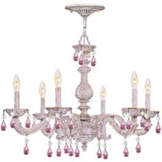 "Sutton 28"" Wide Antique White Chandelier"