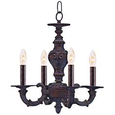 "Sutton 13 1/2"" Wide Venetian Bronze and Gold Chandelier"