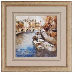 "Paris Riverfront 30"" Square Framed Wall Art"