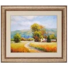 "Country Valley Road 42"" Wide Framed Wall Art"