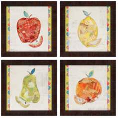 "Set of 4 Fruits 14"" Square Collage Wall Art Prints"