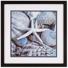 "Blue Tide I 35"" Square Sea Shell Wall Art"