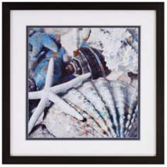 "Blue Tide II 35"" Square Sea Shell Wall Art"