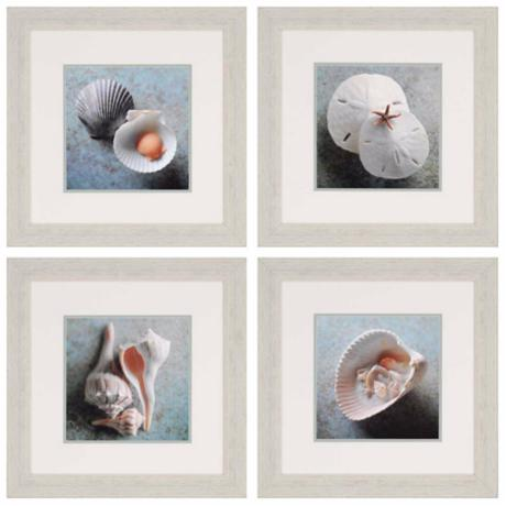 "Set of 4 Sea Collection 23"" Square Shell Wall Art Prints"