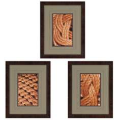 "Set of 3 Tie the Knot II 21"" High Framed Wall Art Prints"