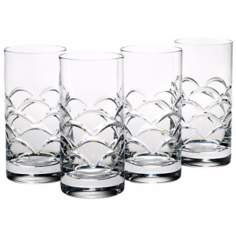 Set of 4 Reed and Barton Cove Crystal Hiball Glasses