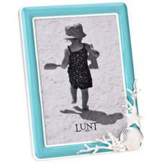 "Reed and Barton Sanibel 5""x7"" Aqua Picture Frame"