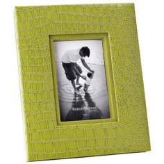 "Reed and Barton Faux Croc 4""x6"" Green Picture Frame"