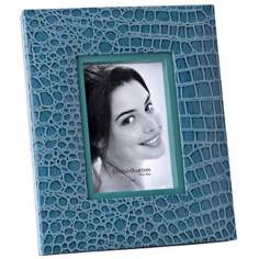 "Reed and Barton Faux Croc 4""x6"" Cool Blue Picture Frame"