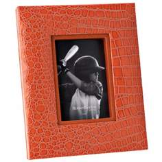 "Reed and Barton Faux Croc 4""x6"" Orange Picture Frame"