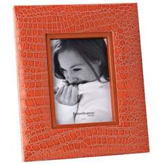 "Reed and Barton Faux Croc 5""x7"" Orange Picture Frame"
