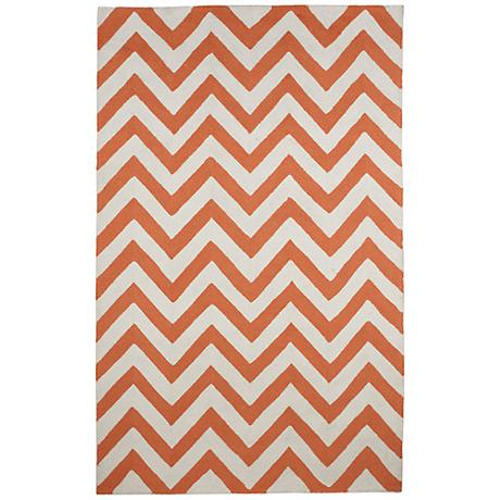 Resort Tangerine Chevron 25609 Indoor-Outdoor Area Rug