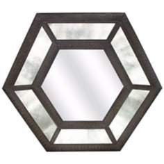 "Remi Antique Glass 36 1/4"" Wide Hexagon Wall Mirror"
