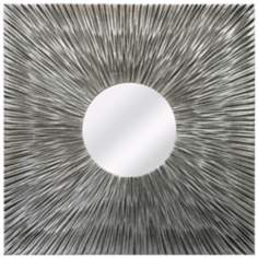 "Resound Textured Silver 31 1/2"" Square Wood Wall Mirror"