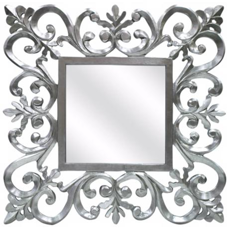 "Vienne 31 1/2"" Square Ornate Silver Wall Mirror"