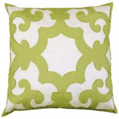 "Bukara Green 24"" Square Down Throw Pillow"