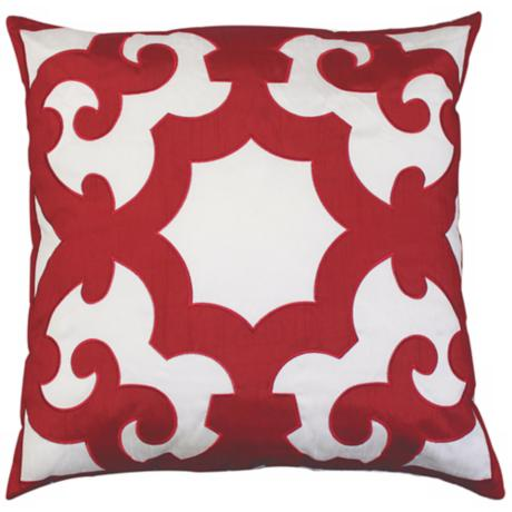 "Bukara Red 24"" Square Down Throw Pillow"