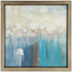 "Aqua Light 41"" Square Framed Contemporary Wall Art"