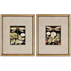 "Set of 2 Dragonflies 22"" High Framed Wall Art"