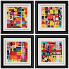 "Set of 4 Color Block Prints 19"" Square Framed Wall Art"