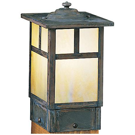 "Mission 6 3/4"" High Gold Glass Square Outdoor Post Light"