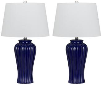 Eunice Navy Blue Ribbed Ceramic Table Lamp Set of 2 (1D666) 1D666