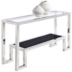 Storm Polished Stainless Steel Glass Top Console Table