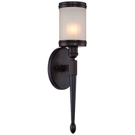 "Heller 19"" High Frosted Glass Bronze Wall Sconce"