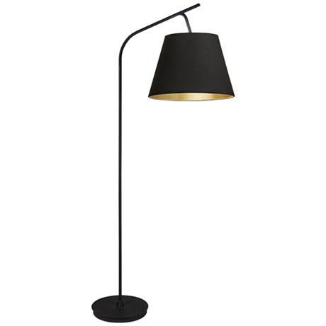 walker black with black and gold shade arc floor lamp 1f403. Black Bedroom Furniture Sets. Home Design Ideas