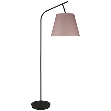 Walker Black with Rose Tweed Shade Arc Floor Lamp