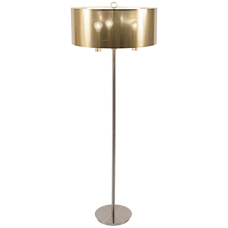Walker Brushed Nickel with Gold Shade Floor Lamp