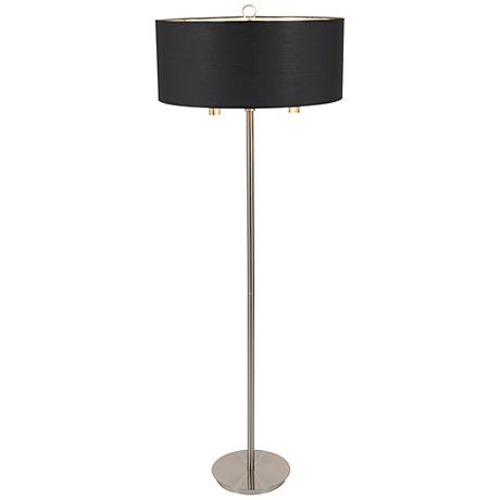 Walker Brushed Nickel with Black and Gold Shade Floor Lamp