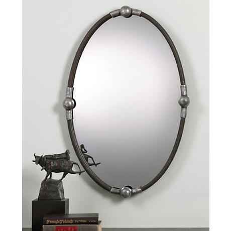 "Uttermost Nova Rust Black 22""x32"" Oval Wall Mirror"
