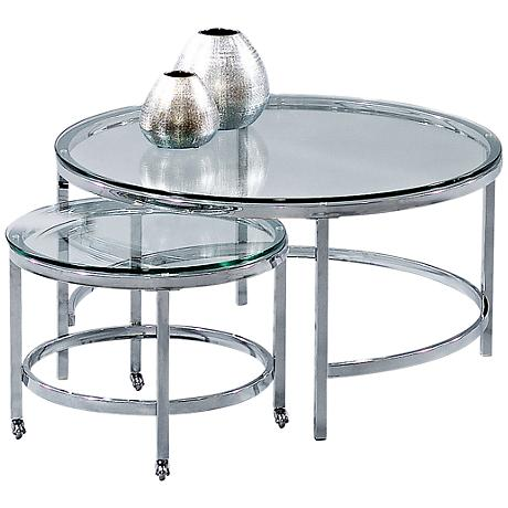 Patinoire Chrome And Glass Top Nesting Round Cocktail Table 1f495