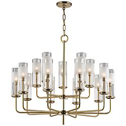 "Hudson Valley Wentworth 31"" Wide Aged Brass Chandelier"
