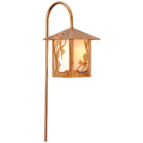 Dragonfly Lantern Curved Arm Old Penny LED Path Light