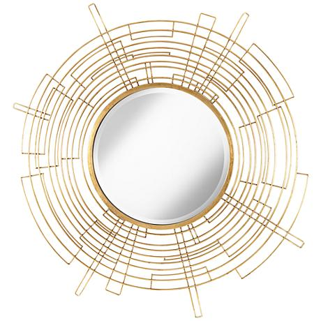 "Vector Antiqued Gold 50"" Round Openwork Wall Mirror"