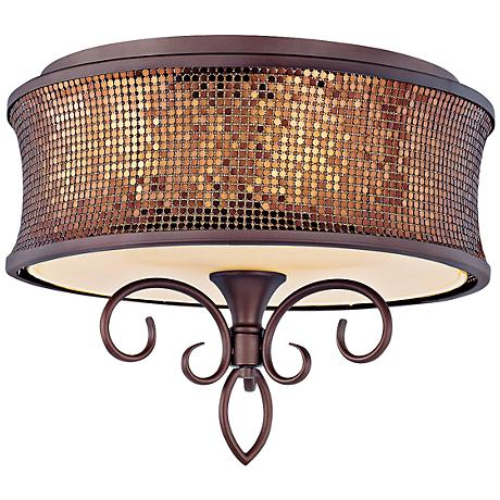 "Maxim Alexander 17"" Wide Umber Bronze Ceiling Light"