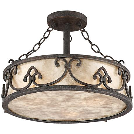 "Arba 16"" Wide Bronze Mica Drum Ceiling Light"