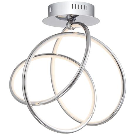 "Possini Euro Annular 15 1/2"" Wide Chrome LED Ceiling Light"