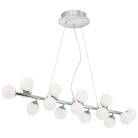"Villani Chrome 41"" Wide Frosted Glass LED Island Chandelier"