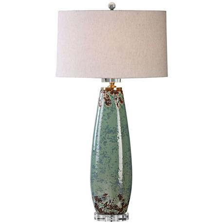 uttermost rovasenda pale mint green ceramic table lamp. Black Bedroom Furniture Sets. Home Design Ideas
