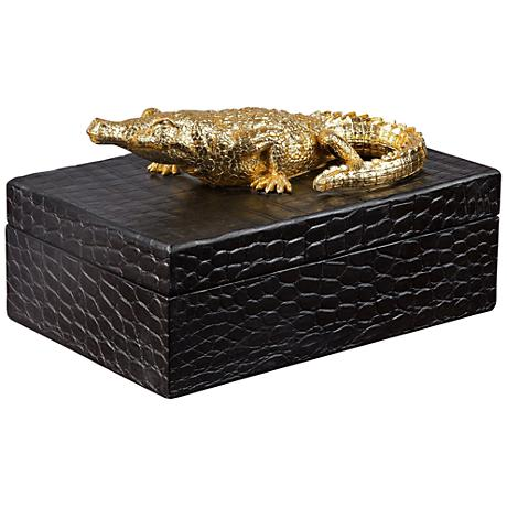 Uttermost Gold Alligator Black Faux Crocodile Decorative Box