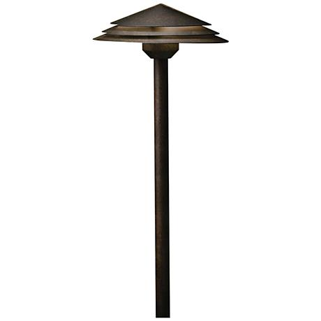 "Kichler Round Tiered 21"" High Bronze 2700K LED Path Light"