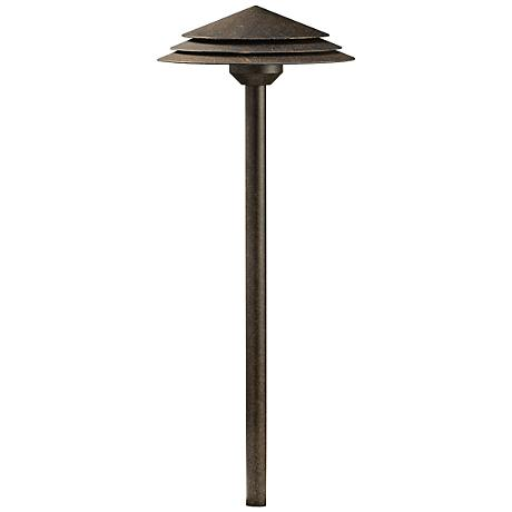 "Kichler Tier 21""H Round Crimson Wood 3000K LED Path Light"